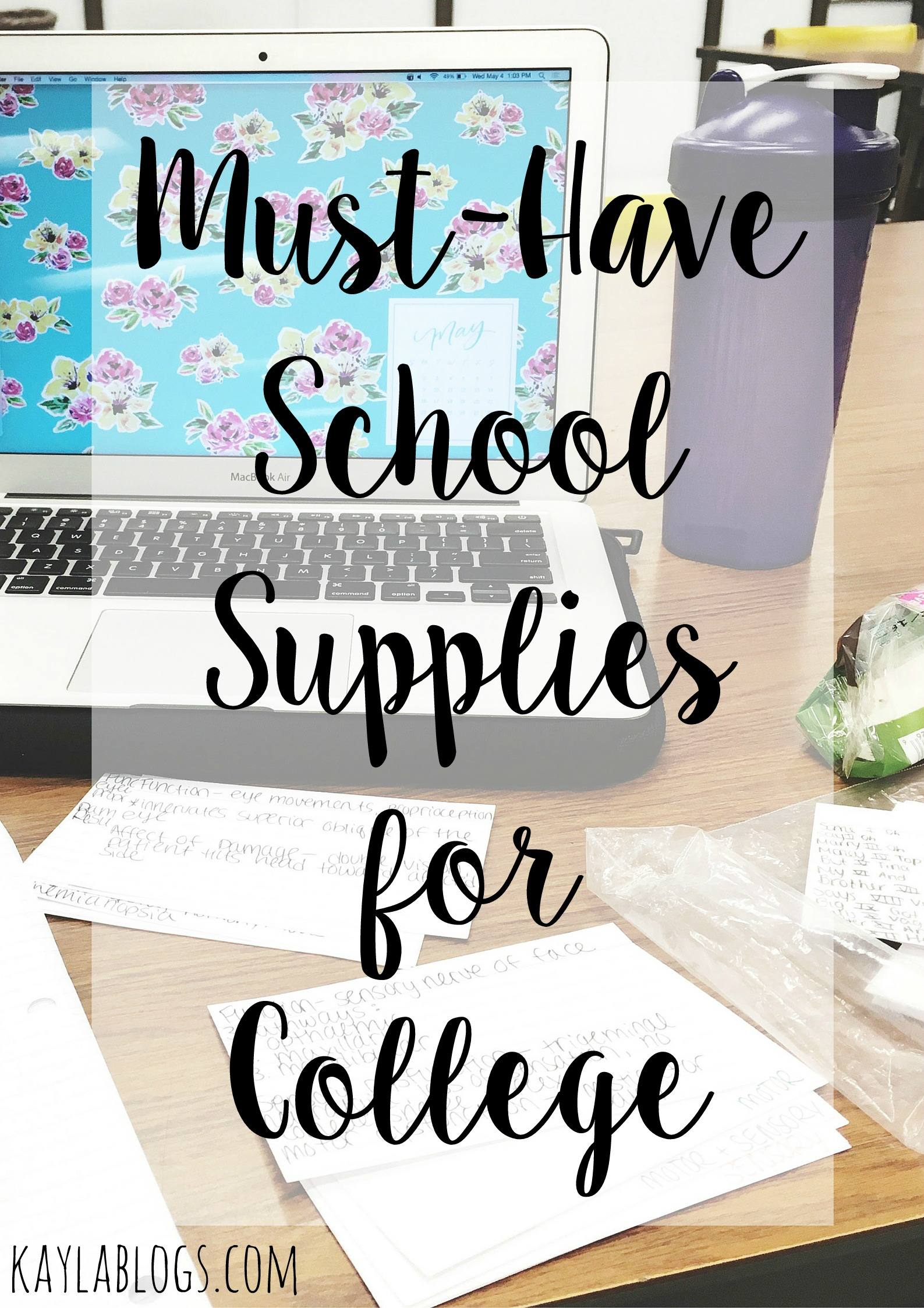 School Supplies List For College