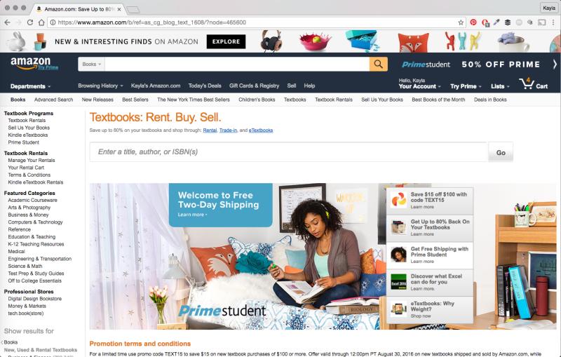 amazon prime textbooks