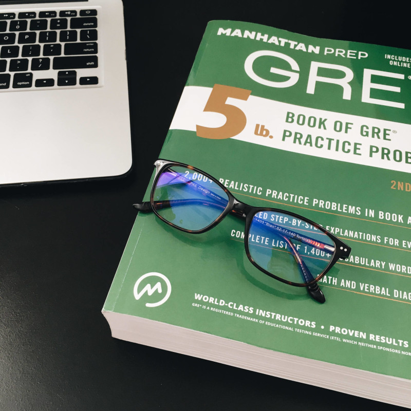 gre book and phonetic eyewear glasses