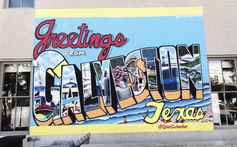 Spring Break in Galveston. galveston texas postcard mural